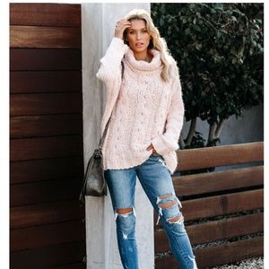 CELESTE Cowl Neck Cable Knit Sweater